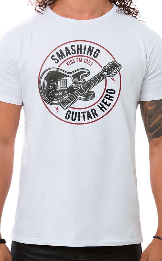 Camiseta Masculina Smashing Guitar Branco