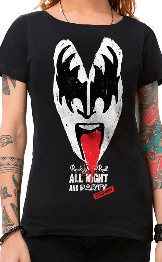 Camiseta Feminina Rock n Roll All Night Preto
