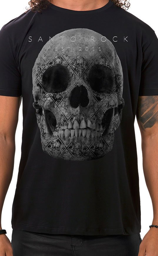 Camiseta Masculina Tattooed Skull Preto
