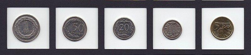 set com  com 5 moedas da Polônia