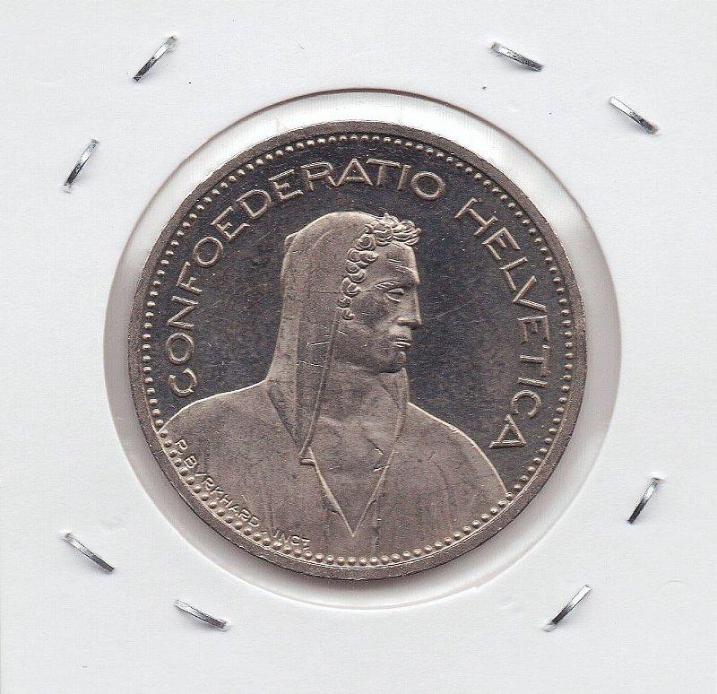 Moeda da Suiça 5 Francos - 1988