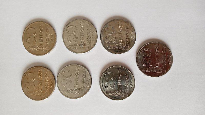 7 Moedas de 20 Centavos - 1967 - 1970 - 1975 - 1976 - 1977 - 1978 - 1979