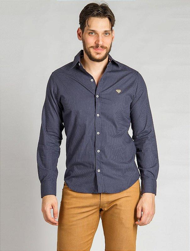 Camisa Tricoline Azul Marinho