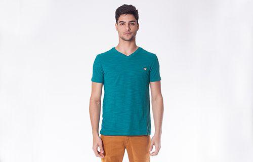 Camiseta V Flame Meia Malha Verde