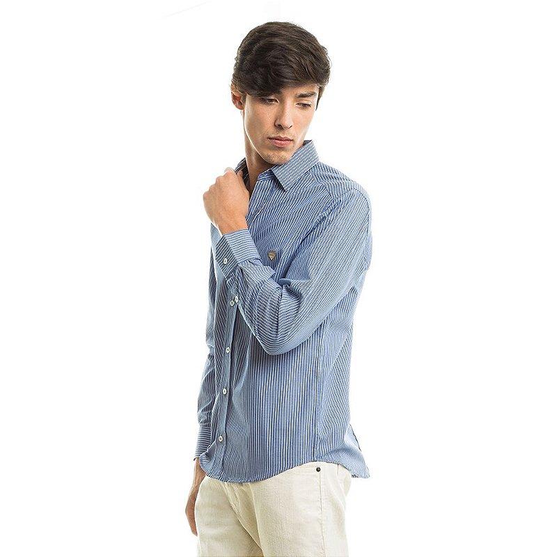 Camisa Tricoline Stripes Azul