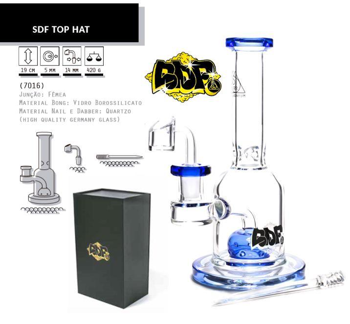 Squadafum | Oil Bong de vidro Top Hat 19cm - Linha Premium