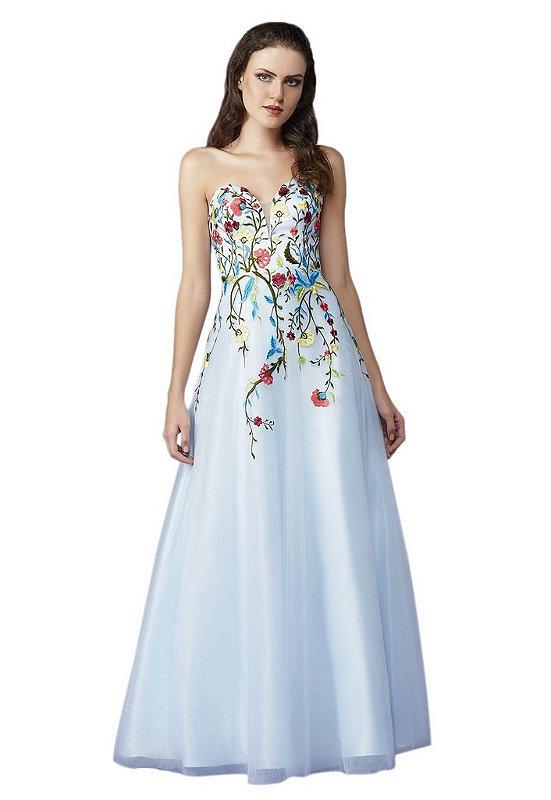 Vestido tomara que caia em tule com bordado a linha floral