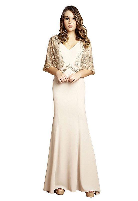 Vestido em crepe detalhe no cinto bordado.