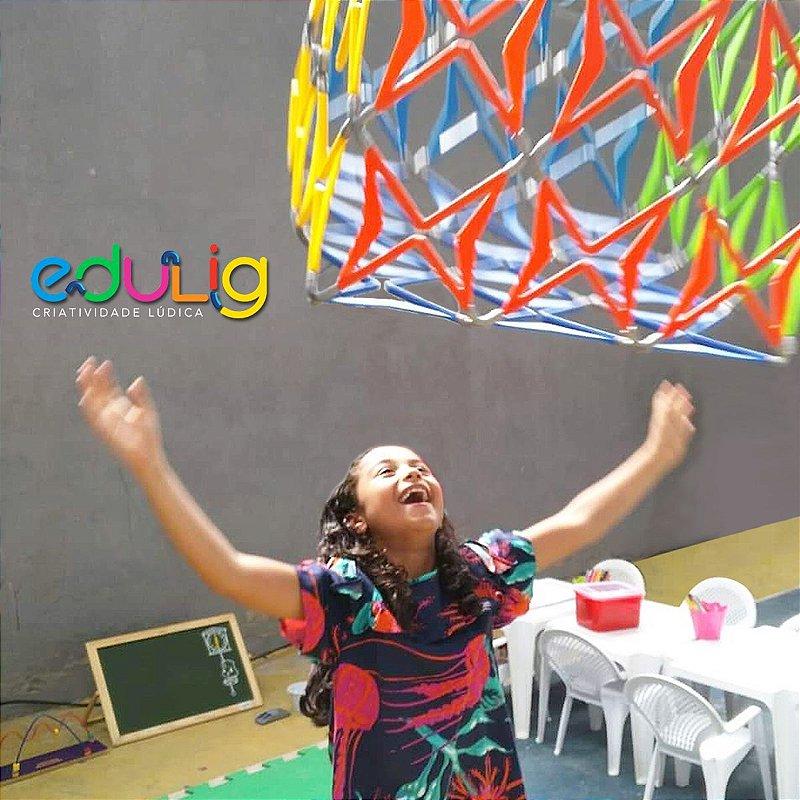 Quebra-cabeça Edulig Puzzle 3D Cubo - 110 peças e conexões - 6 cores - Edulig