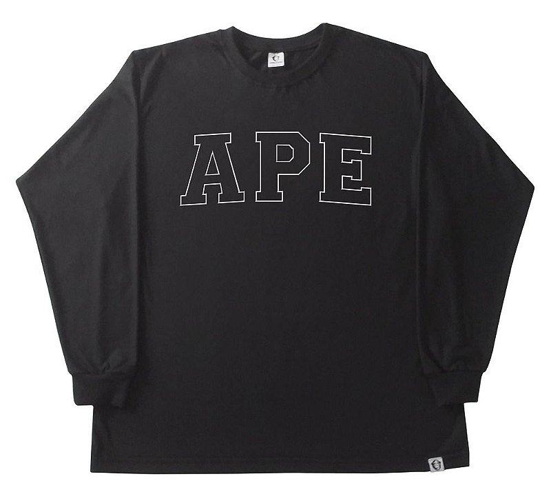 Camiseta manga longa Bordada preta