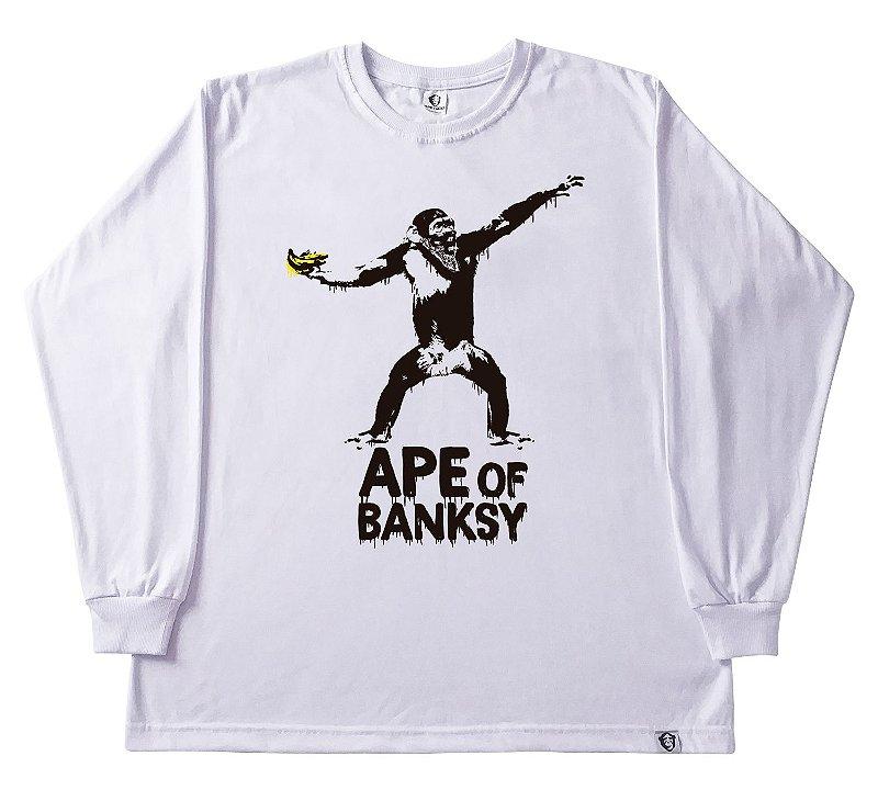 107. CAMISETA MANGA LONGA BRANCA APE OF BANKSY