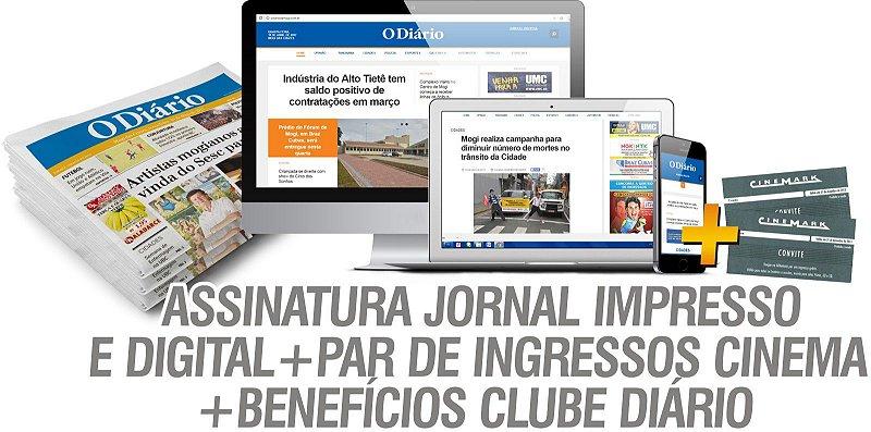 ASSINATURA JORNAL IMPRESSO E DIGITAL + PAR DE INGRESSOS CINEMA + BENEFÍCIOS CLUBE DIÁRIO