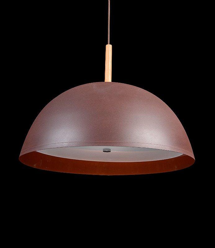 117V Pendente Meia esfera Grande 53 cm  Marrom c/ cobre