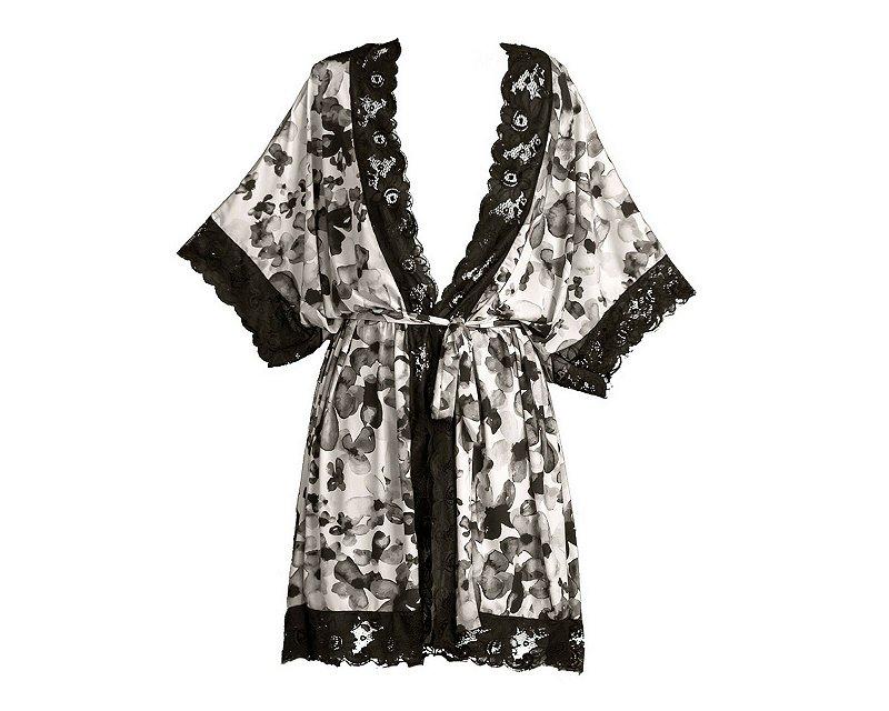 Robe Floral Preto e Branco