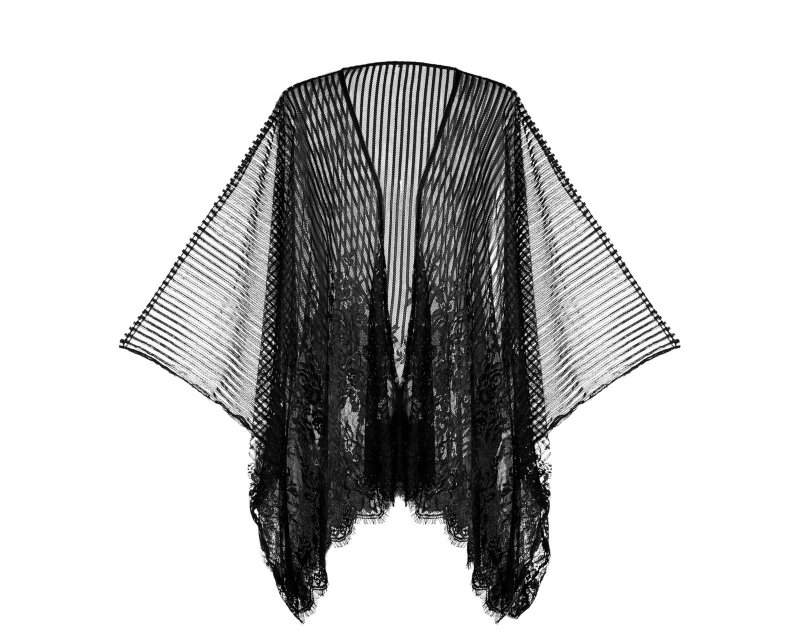 Robe Kimono em Renda Plissada