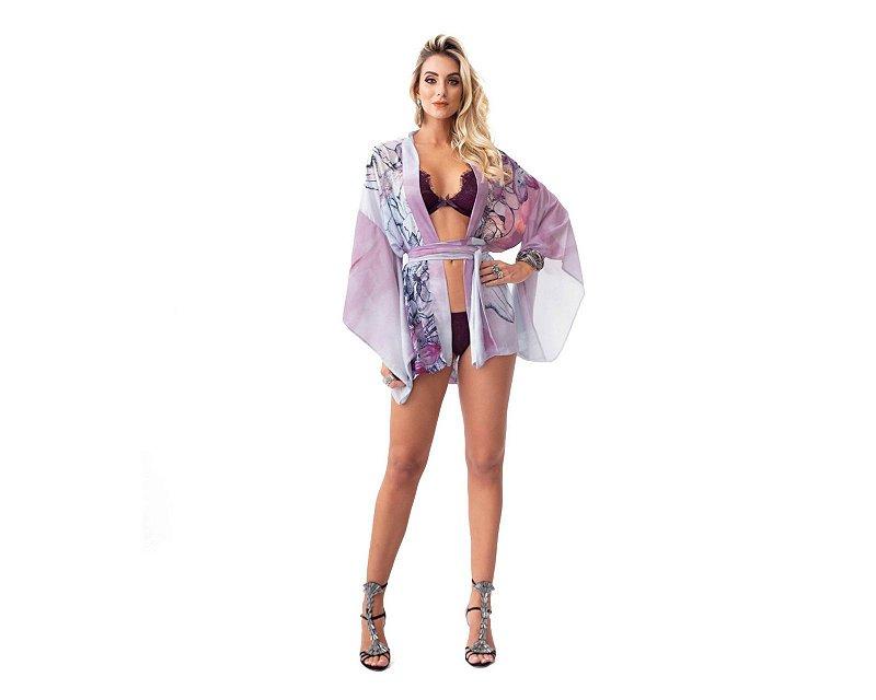 Robe Kimono Curto Floral Brooklyn