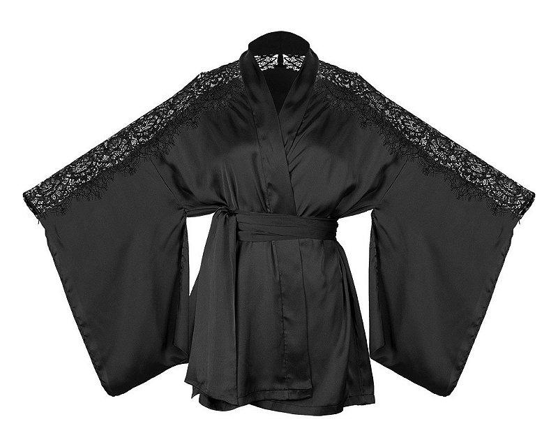 Robe Kimono Curto com Recorte em Renda Bronx