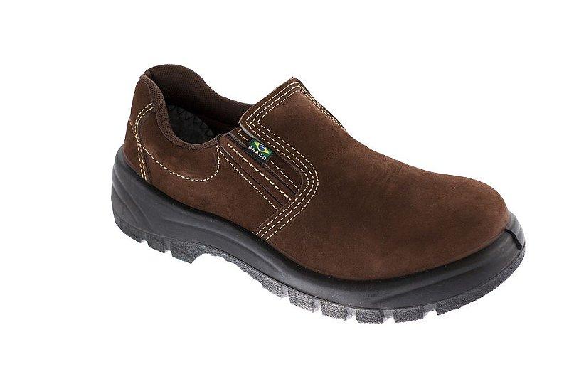 Sapato elástico  nobuck café com bico pvc