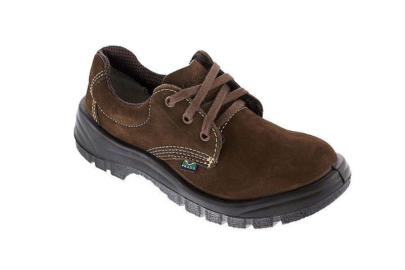 Sapato cadarço nobuck café com bico de pvc