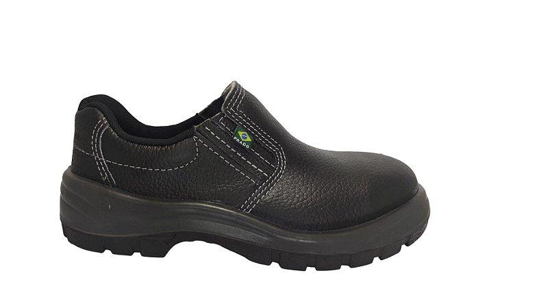 Sapato de segurança fechamento elástico em couro com bico de aço