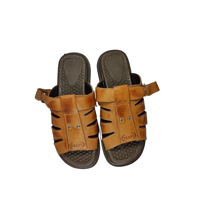 Sandália de couro queimado