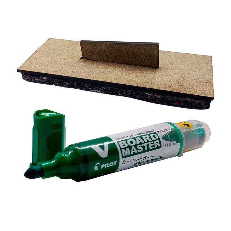 Apagador Basic + Caneta Board Master 5 unidades - Verde