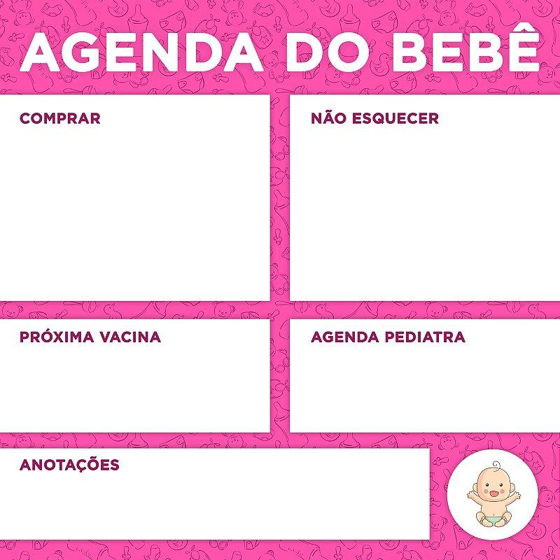 """LOUSA DE VIDRO """"AGENDA DO BEBÊ ROSA"""" 45CM X 45CM"""