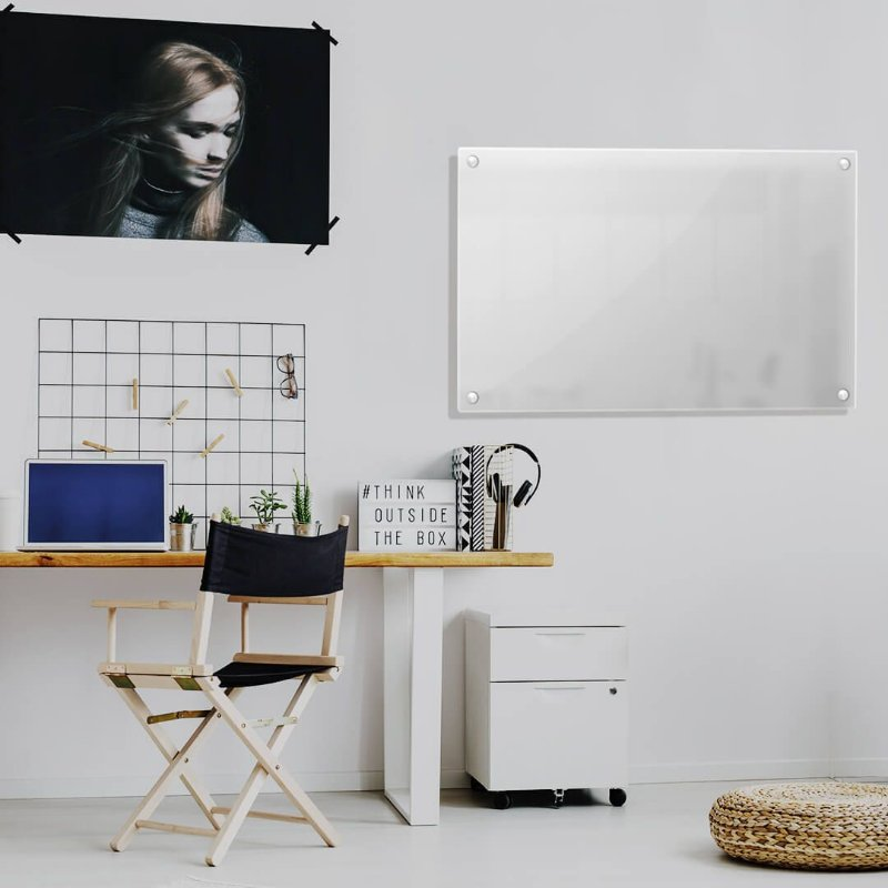 Lousa de Vidro Branca 120x80cm