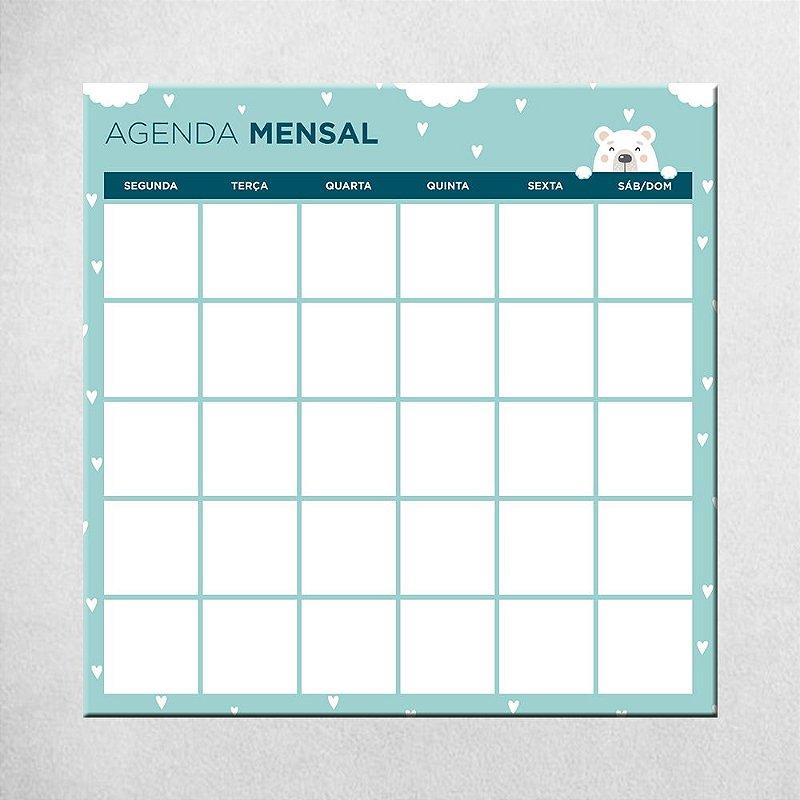 Agenda Mensal do Bebê - azul - 45cm x 45cm
