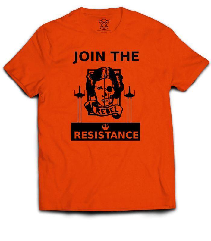 Camisetas laranja e cinza estampa Exclusiva. Tema Star Wars. Inspirado em uma propaganda da Princesa Leia convocando as pessoas para se juntarem as forças rebeldes. A princesa Leia Organa é uma das maiores líderes da Aliança Rebelde