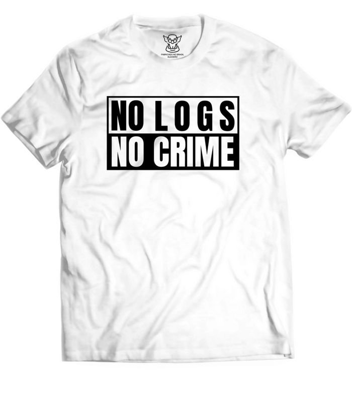 Camiseta Hacker Branca estampa Exclusiva. Tema baseado no meio hacking na perspectiva atacante No Logs No Crime. Procedimento padrão de uma invasão de sistemas é apagar suas pegadas(comandos efetuados em sua sessão) durante a intrusão.