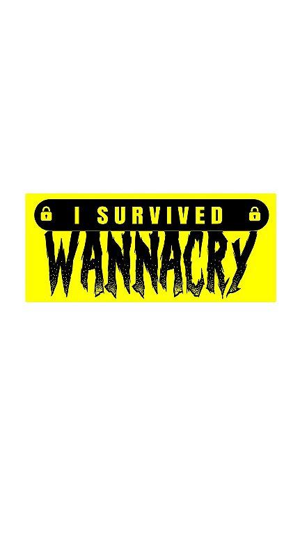 O Adesivo I Survived Wannacry é referência ao famoso crypto-ransomware WannaCry que afeta o sistema operacional Microsoft Windows.