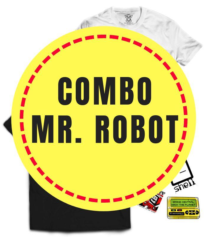 Selecionamos as camisetas Mr Robot e mais desejadas da nossa loja para montar esse combo especial. Conjunto com 2 camisetas Mr. Robot em valor promocional - 20% de desconto mais 4 stickers hacking de Brinde!