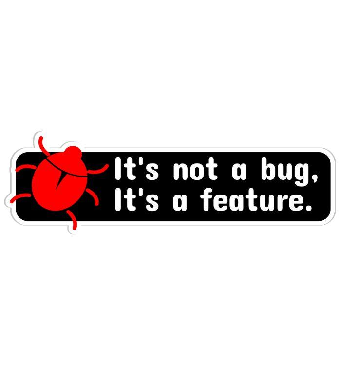 O sticker Programador faz uma leve brincadeira com programadores que encaram bugs de seus programados como novas funções.
