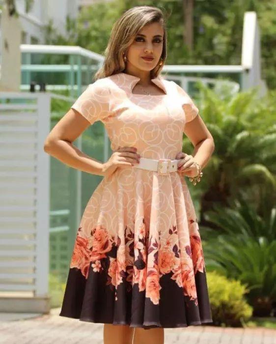 976a5bea6e4b6b Vestido Midi Floral com Cinto - Moda Evangélica - Flor de Amêndoa