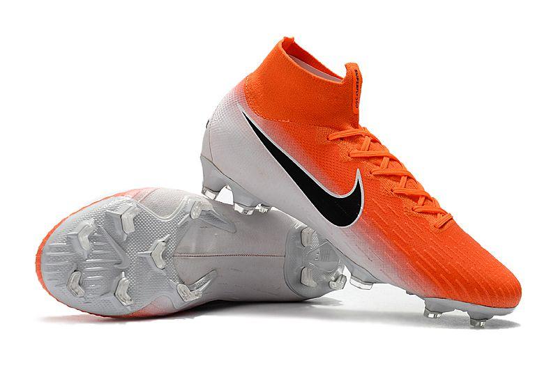 Chuteira Nike Campo Cano Longo Superfly VI 360 Elite CR7 Laranja e Branco a1db6d138d83b