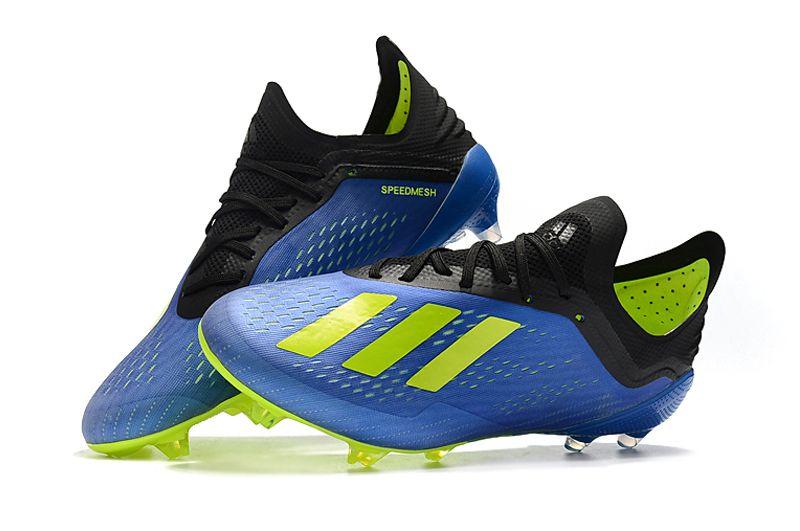 Chuteira Adidas Campo X 18.1 Azul e Verde Limão - OUTLET SOCCER ... 3948ae2636deb