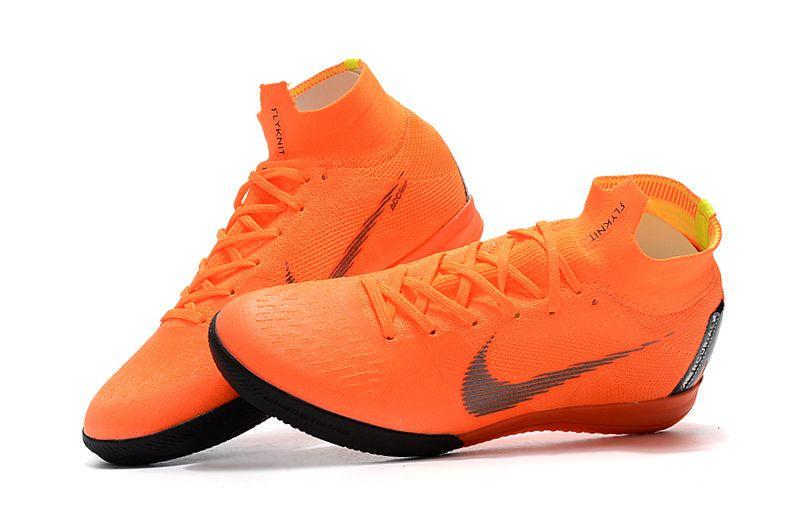 05fec800f9e76 Chuteira Nike Futsal Cano Alto Superfly X VI Elite Laranja e Preta ...