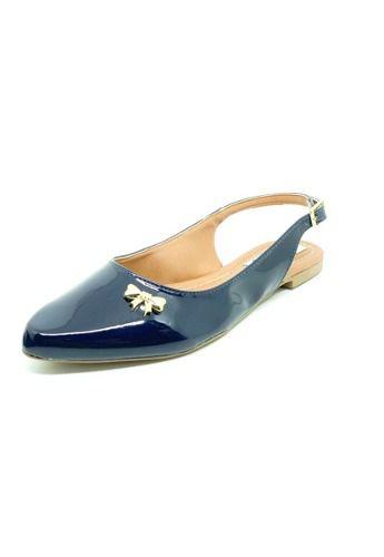 Sapatos Femininos Sapatilha Bico Fino Verniz Marinho Dani K