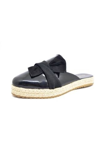 Sapatos Femininos Mule Verniz Sola Corda Preto Dani K