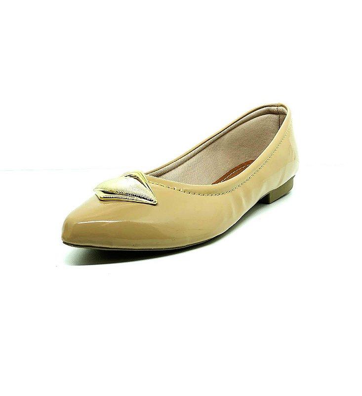 Sapatos Femininos Sapatilha Verniz Bege Dani K