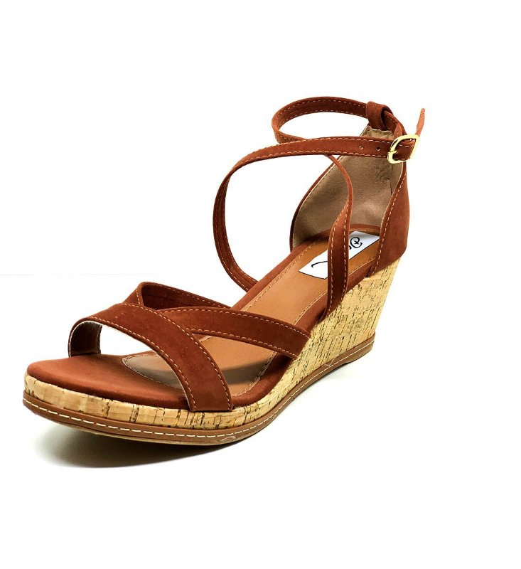 Sapatos Femininos Sandalia Anabela Caramelo