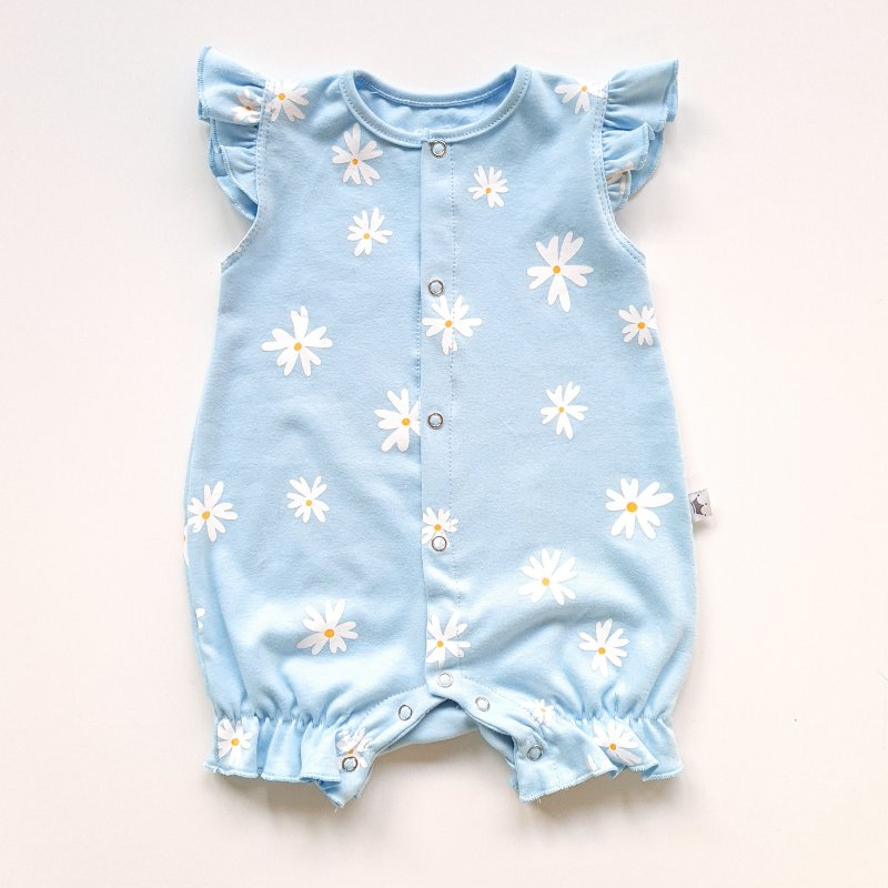 Romper Menina Margarida Azul Bebê