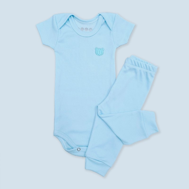 Conjunto Body Manga Curta e Calça Canelado Azul Bebê