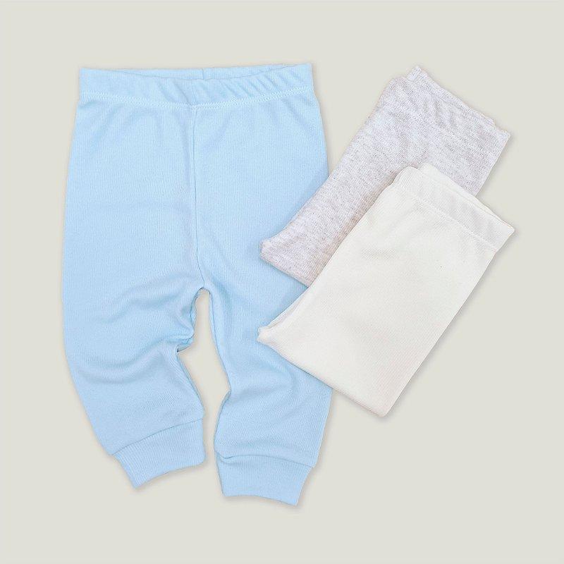 Kit Calça Canelado Azul Bebê, Off White e Cinza Mescla com 3 unidades