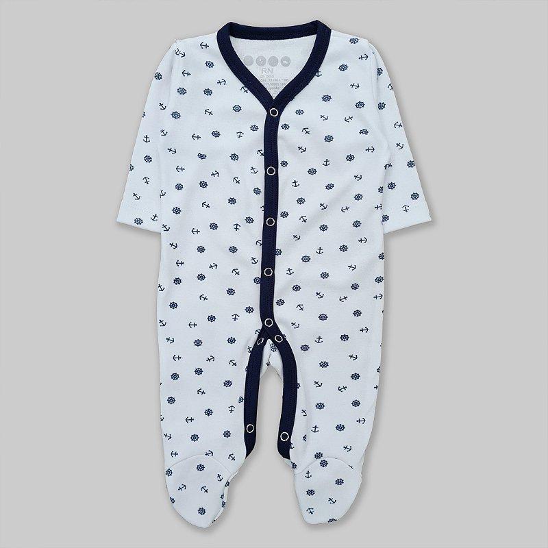 Macacão Pijama Ancora Azul Marinho e Branco