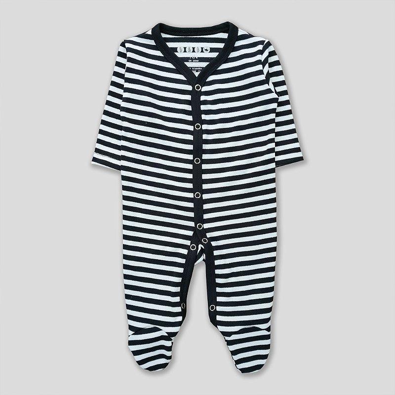 Macacão Pijama Listrado Preto