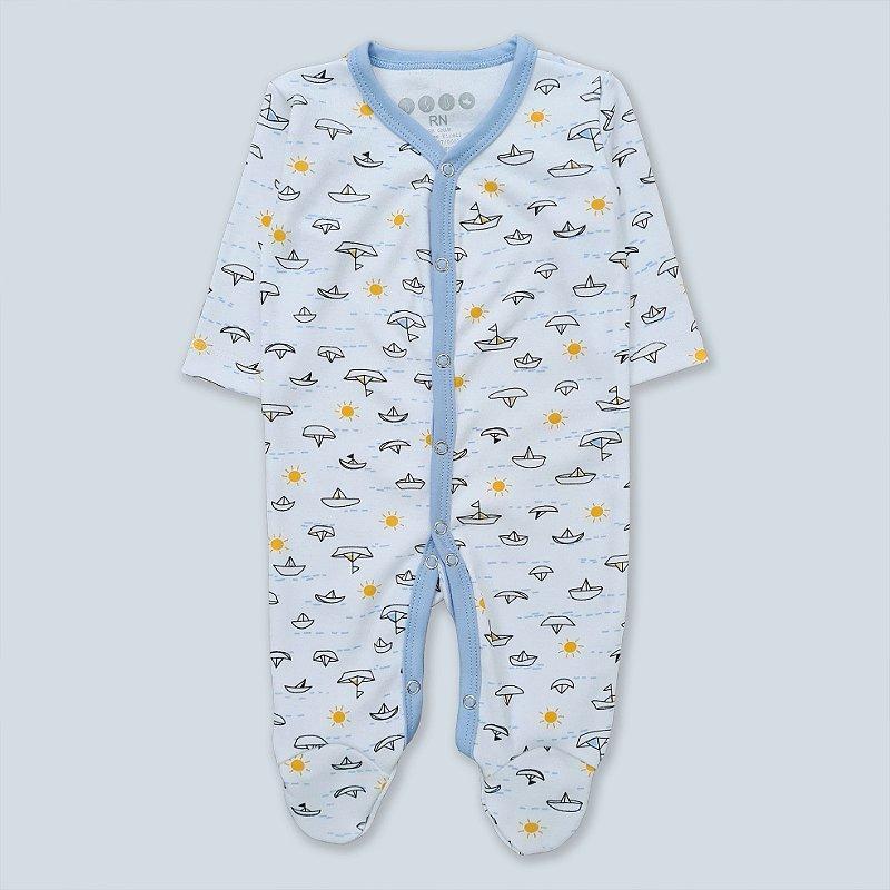 Macacão Pijama Barquinho Azul Bebê