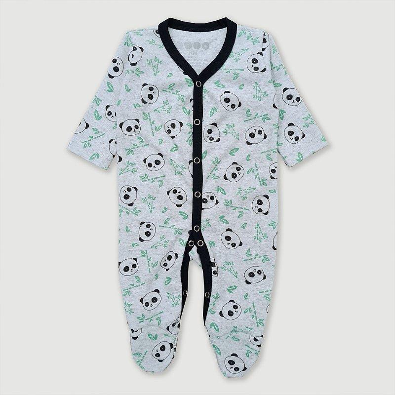 Macacão Pijama Panda Mescla