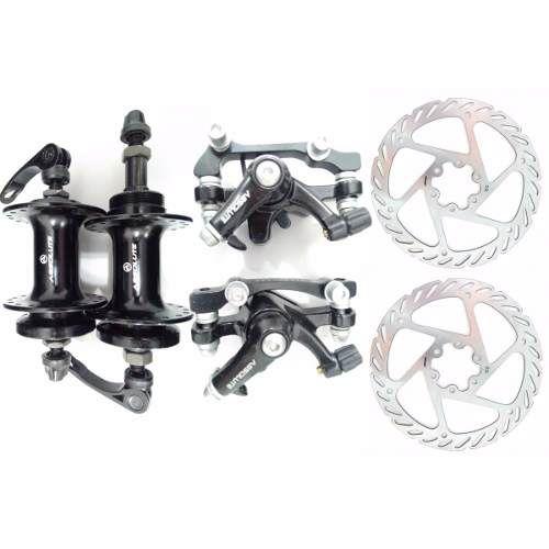 Kit Freio a Disco Mecânico Bike Absolute Completo com Cubos e Rotores de 160 mm